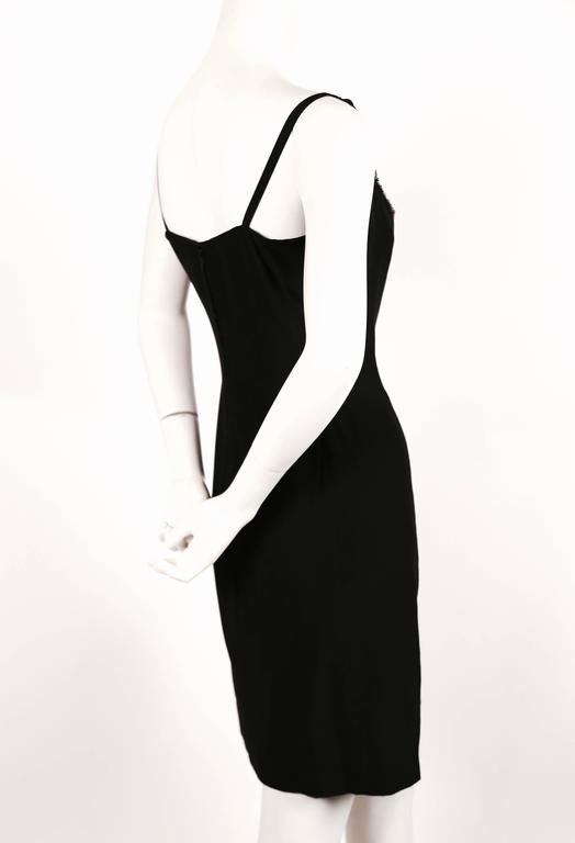 1970's KARL LAGERFELD for CHLOE black silk dress with beads In Good Condition For Sale In San Fransisco, CA