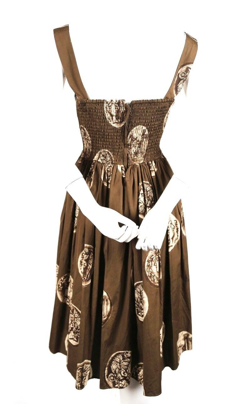 Dolce And Gabbana Roman Coin Printed Cotton Dress For Sale
