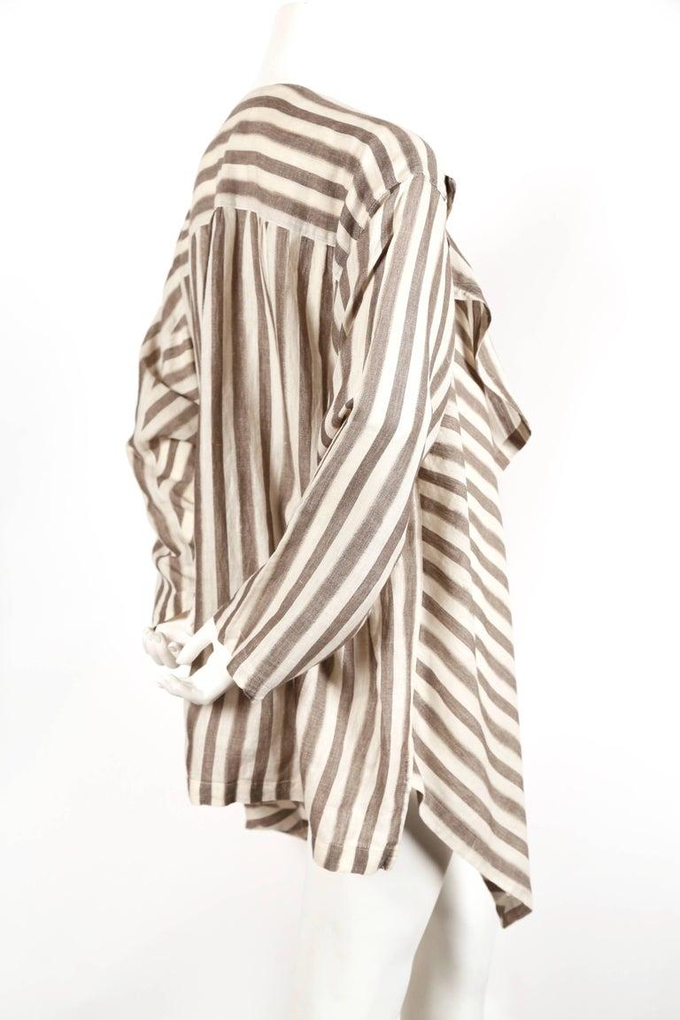 Beige 1980's ISSEY MIYAKE lightweight striped cotton jacket For Sale