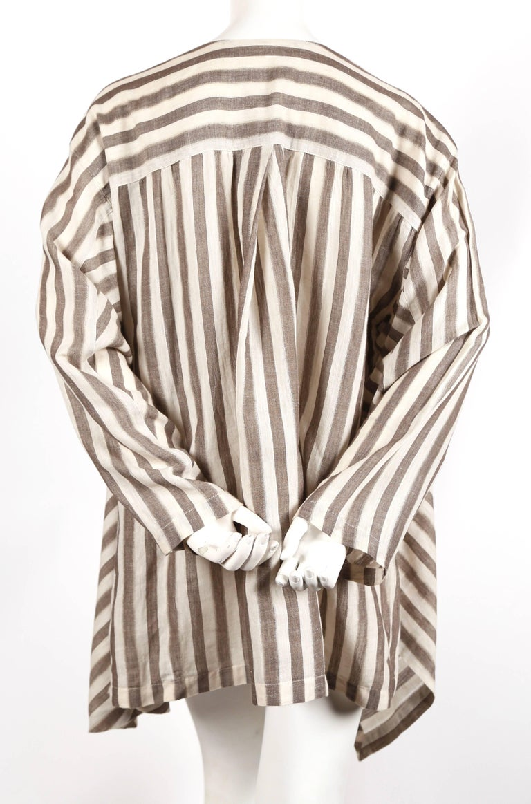 1980's ISSEY MIYAKE lightweight striped cotton jacket In Good Condition For Sale In San Fransisco, CA
