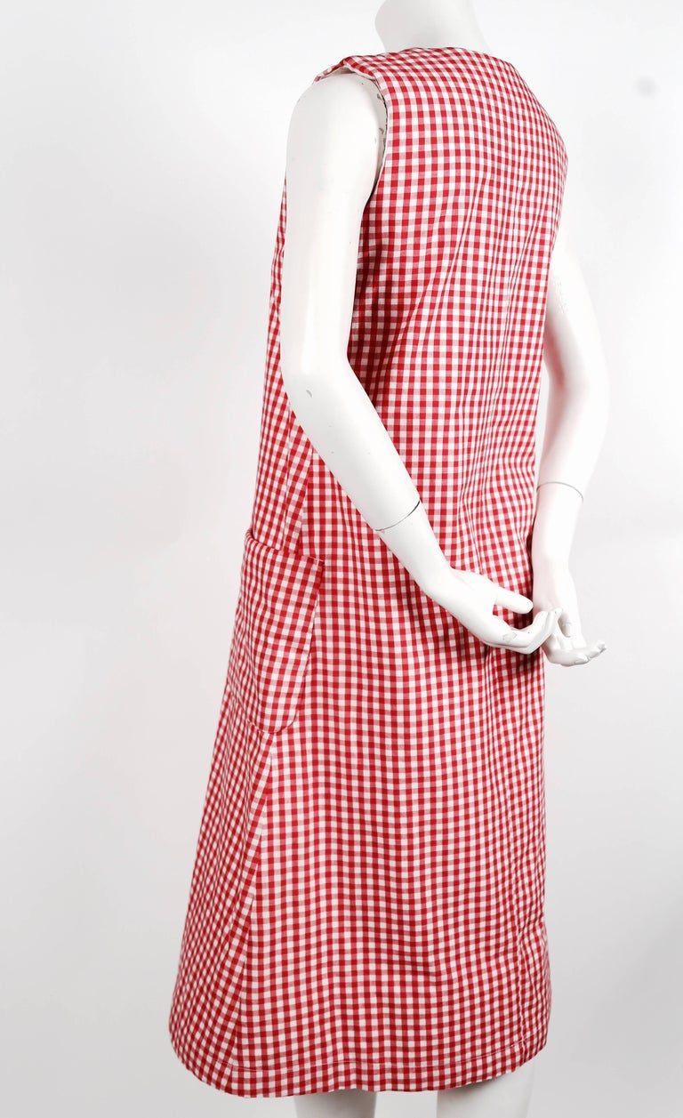 Red 1997 COMME DES GARCONS red gingham padded dress 'BODY MEETS DRESS' For Sale