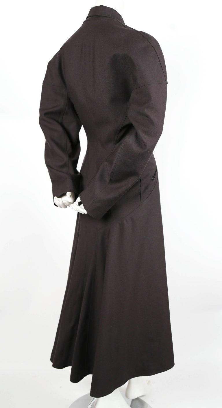 Black 1980's AZZEDINE ALAIA charcoal wool gabardine coat with seamed back For Sale