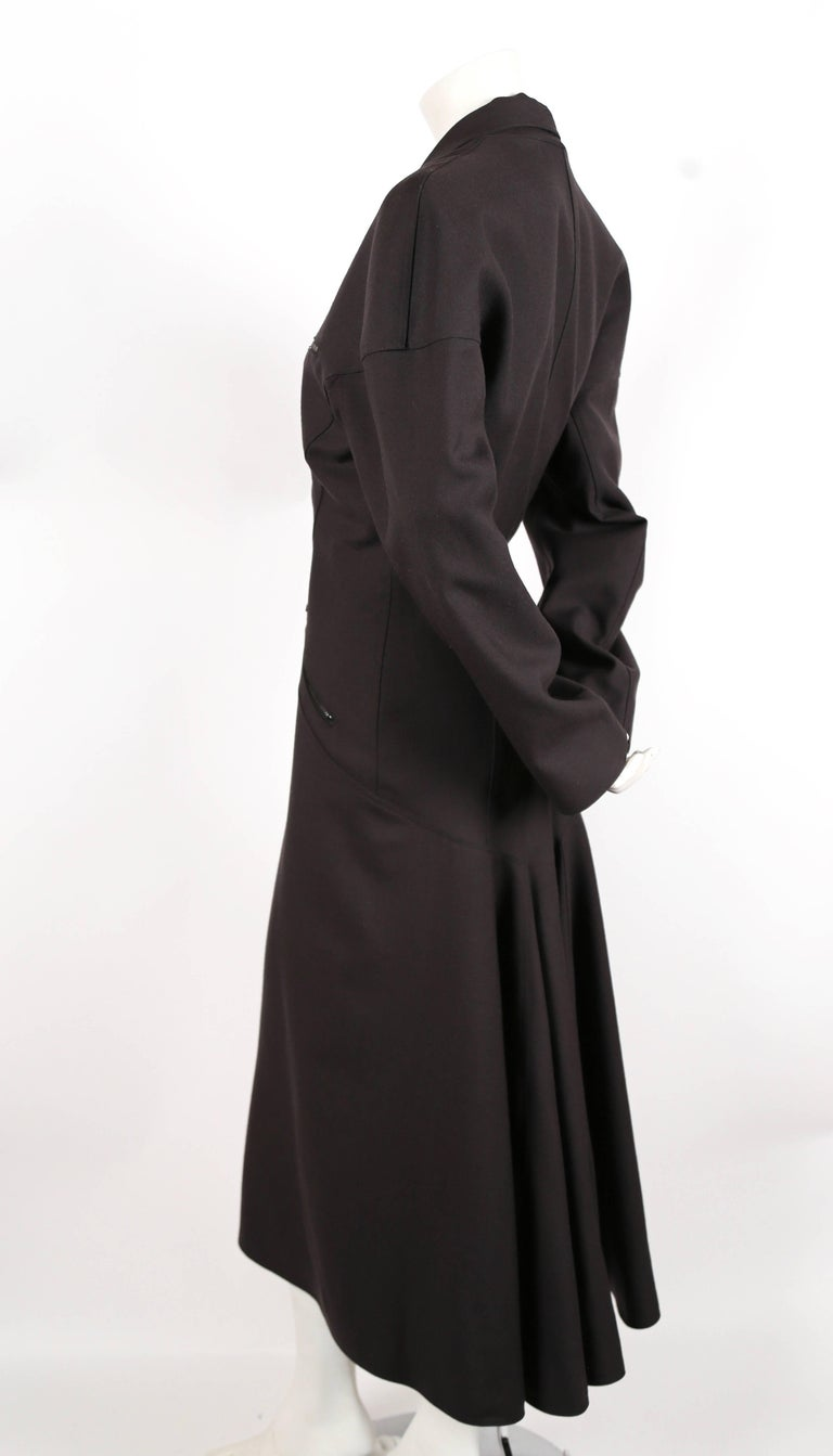 1980's AZZEDINE ALAIA charcoal wool gabardine coat with seamed back In Excellent Condition For Sale In San Fransisco, CA
