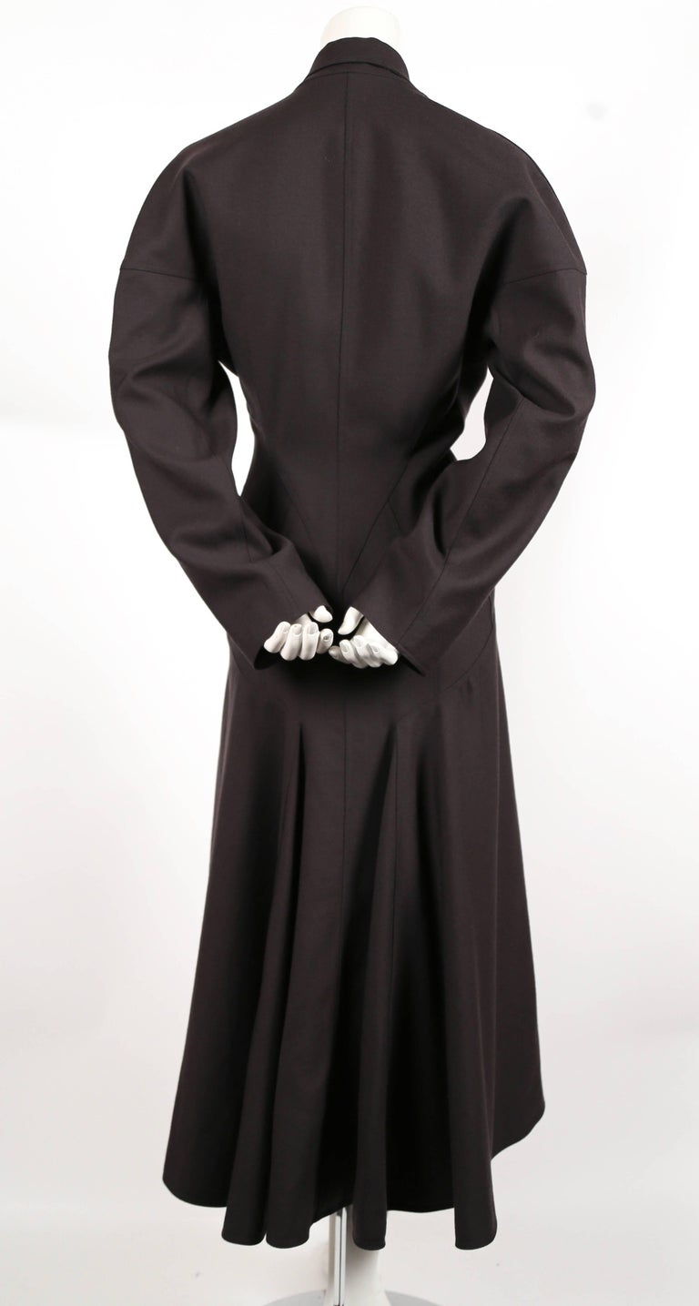Women's or Men's 1980's AZZEDINE ALAIA charcoal wool gabardine coat with seamed back For Sale