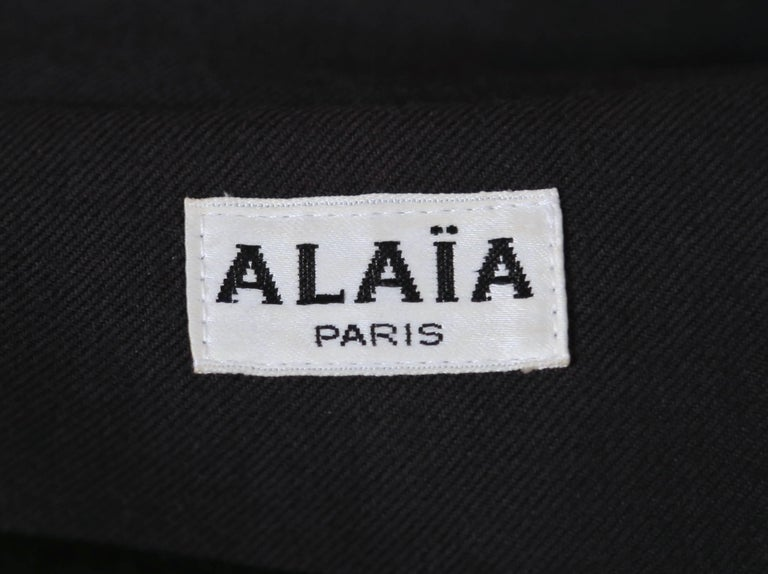 1980's AZZEDINE ALAIA charcoal wool gabardine coat with seamed back For Sale 1