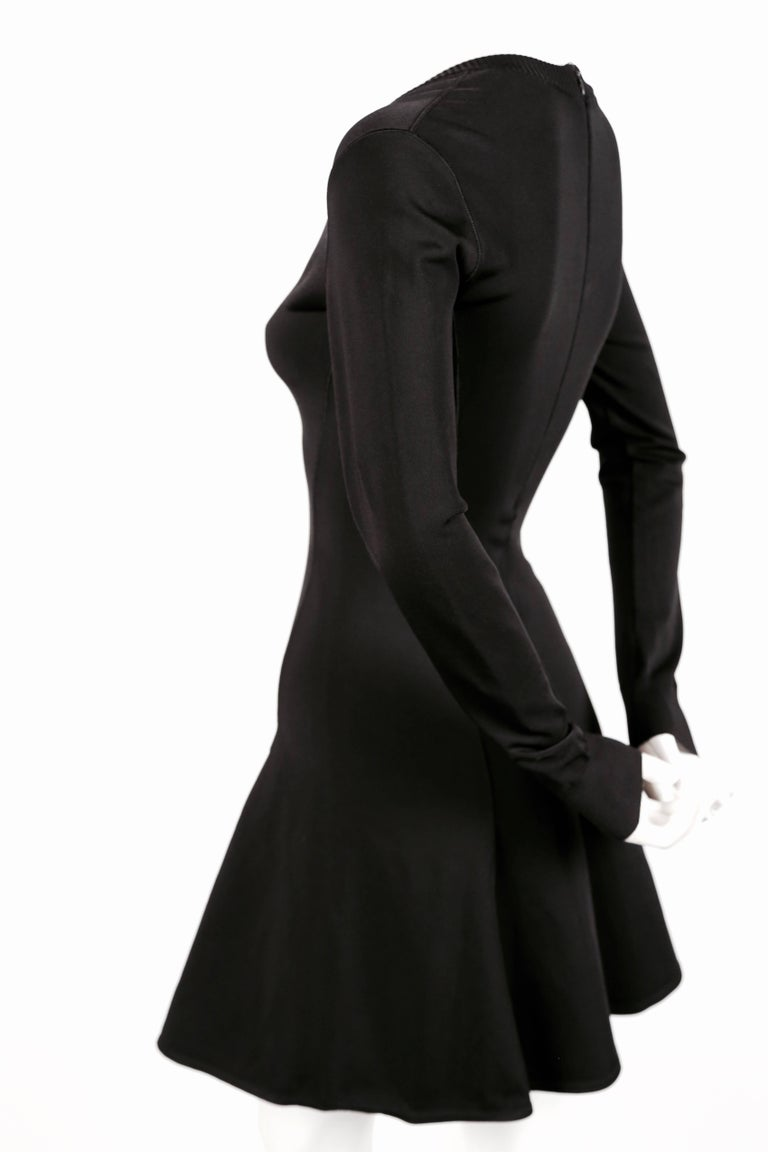 1990's AZZEDINE ALAIA black skater dress with v-neckline and long sleeves 2