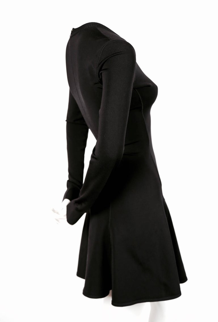 1990's AZZEDINE ALAIA black skater dress with v-neckline and long sleeves 3