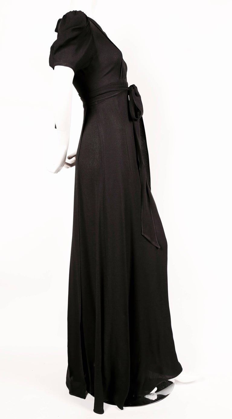 Black 1970's OSSIE CLARK black moss crepe wrap dress with open back For Sale