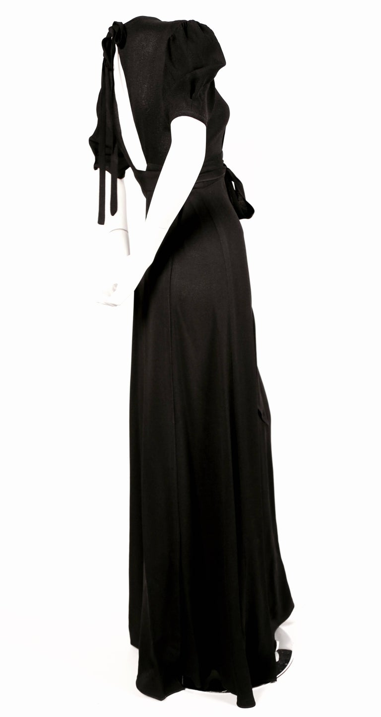 1970's OSSIE CLARK black moss crepe wrap dress with open back In Excellent Condition For Sale In San Francisco, CA