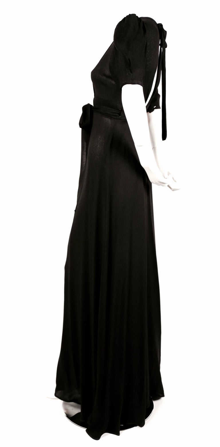 Women's or Men's 1970's OSSIE CLARK black moss crepe wrap dress with open back For Sale