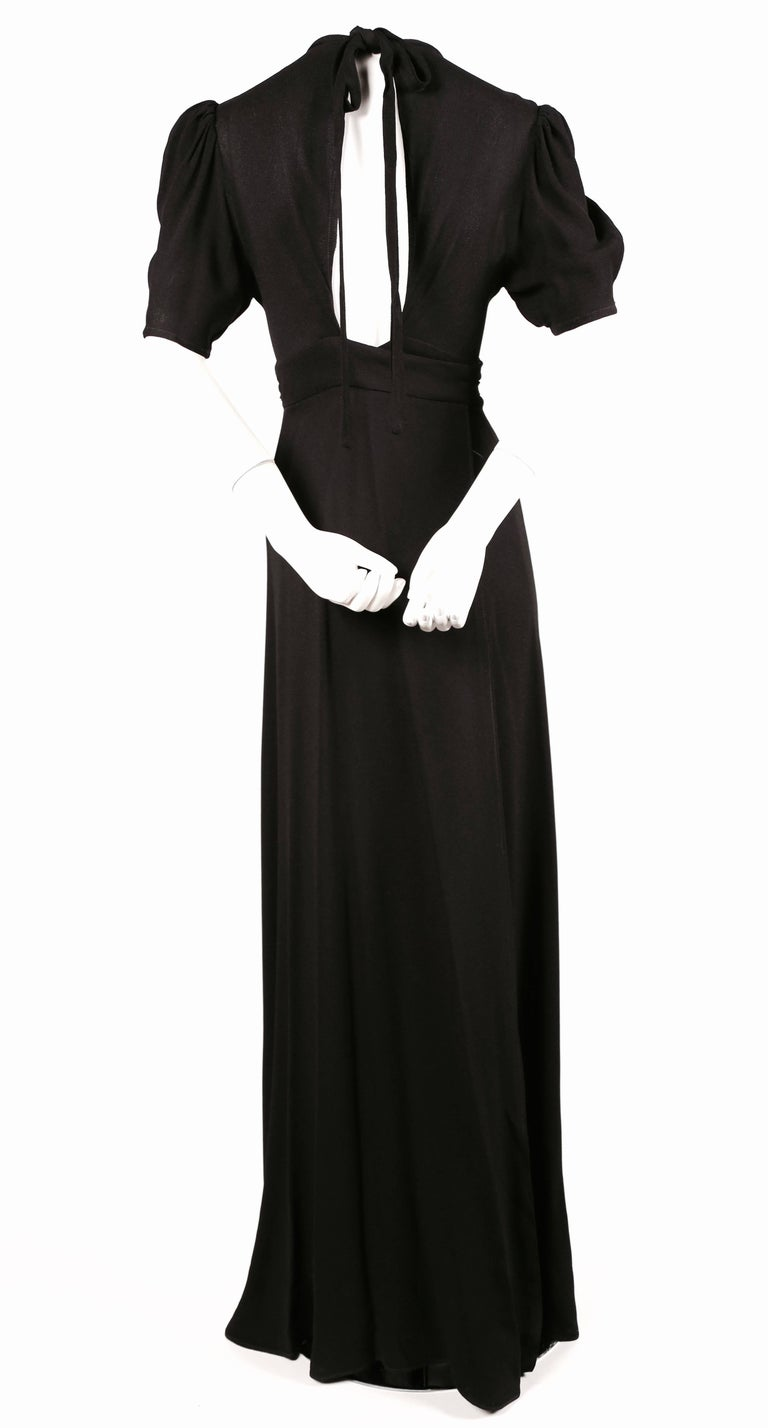 1970's OSSIE CLARK black moss crepe wrap dress with open back For Sale 1