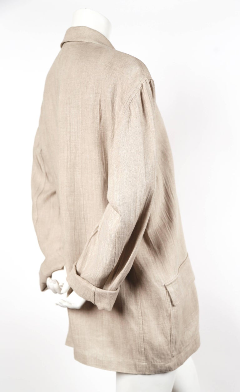 Beige 1980's ISSEY MIYAKE PLANTATION linen jacket with knotted fabric buttons For Sale