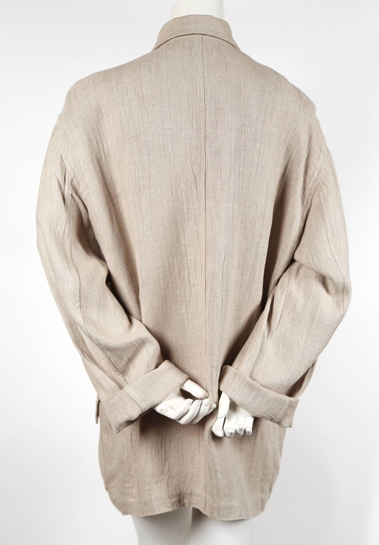 1980's ISSEY MIYAKE PLANTATION linen jacket with knotted fabric buttons In Excellent Condition For Sale In San Fransisco, CA