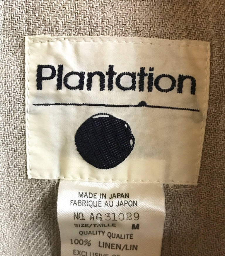 Women's or Men's 1980's ISSEY MIYAKE PLANTATION linen jacket with knotted fabric buttons For Sale