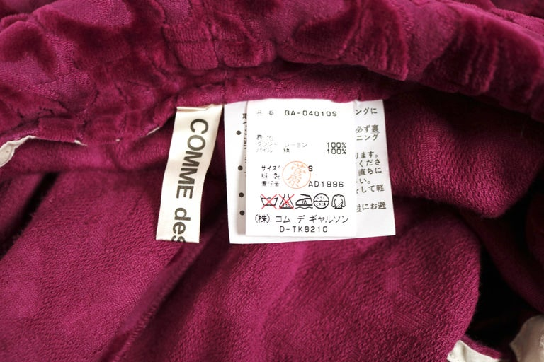 1996 COMME DES GARCONS flocked dress with open back For Sale 1
