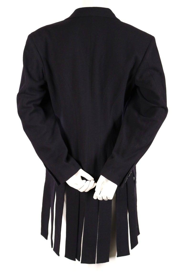 Black Yohji Yamamoto black wool jacket with carwash hemline, 1980s For Sale