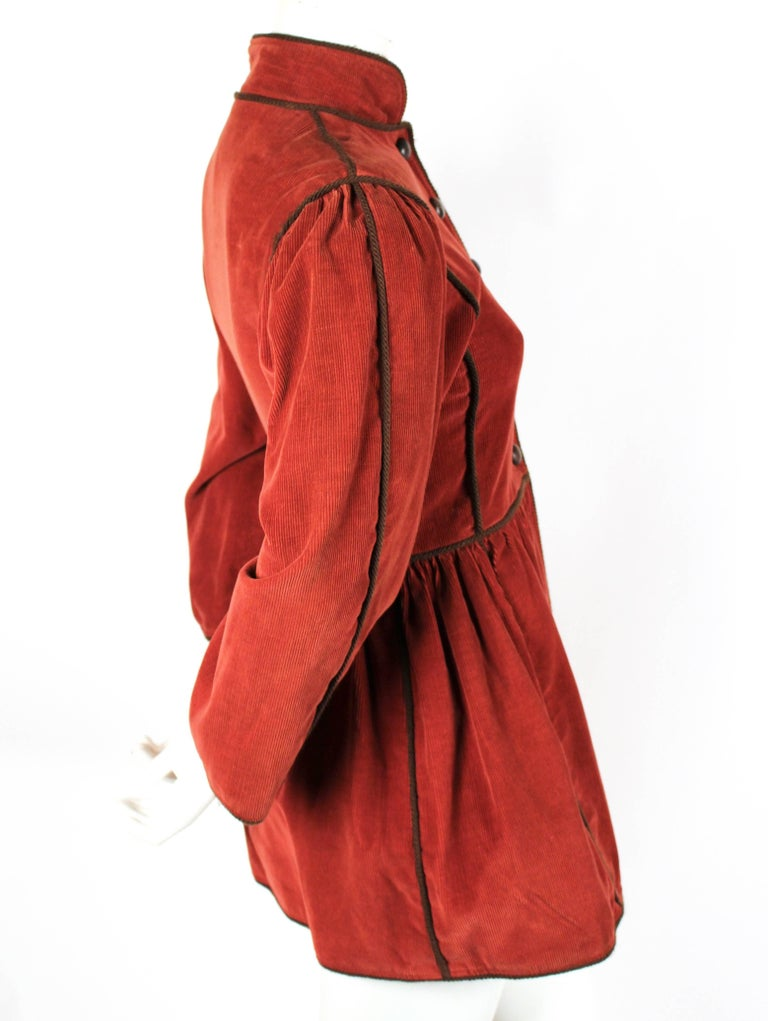 Red 1976 YVES SAINT LAURENT Russian collection corduroy coat with wood buttons For Sale