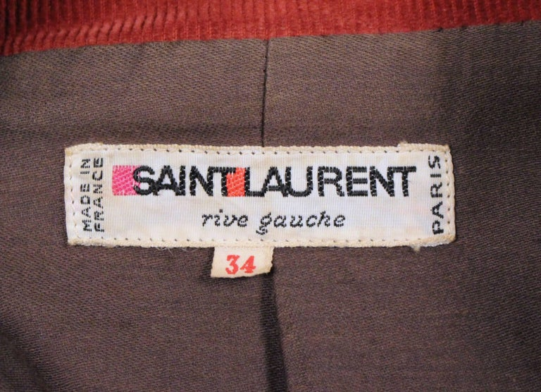 1976 YVES SAINT LAURENT Russian collection corduroy coat with wood buttons In Good Condition For Sale In San Francisco, CA