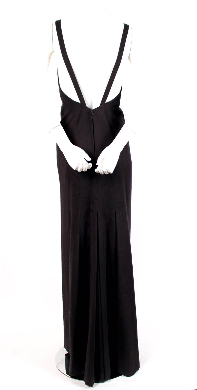 1970's ISSEY MIYAKE black ultrasuede gown with plunging neckline and low back In Excellent Condition For Sale In San Fransisco, CA