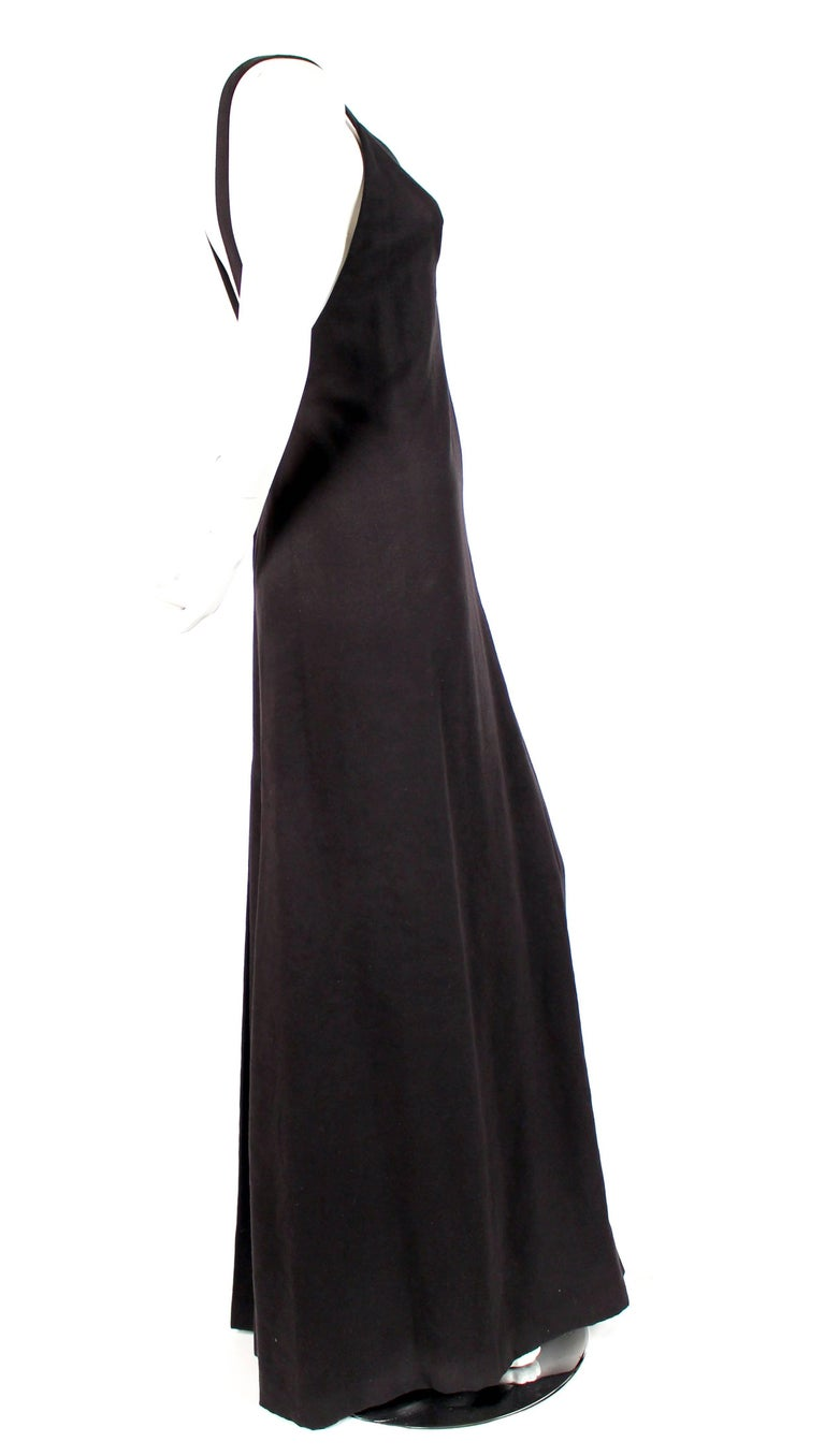 Black 1970's ISSEY MIYAKE black ultrasuede gown with plunging neckline and low back For Sale