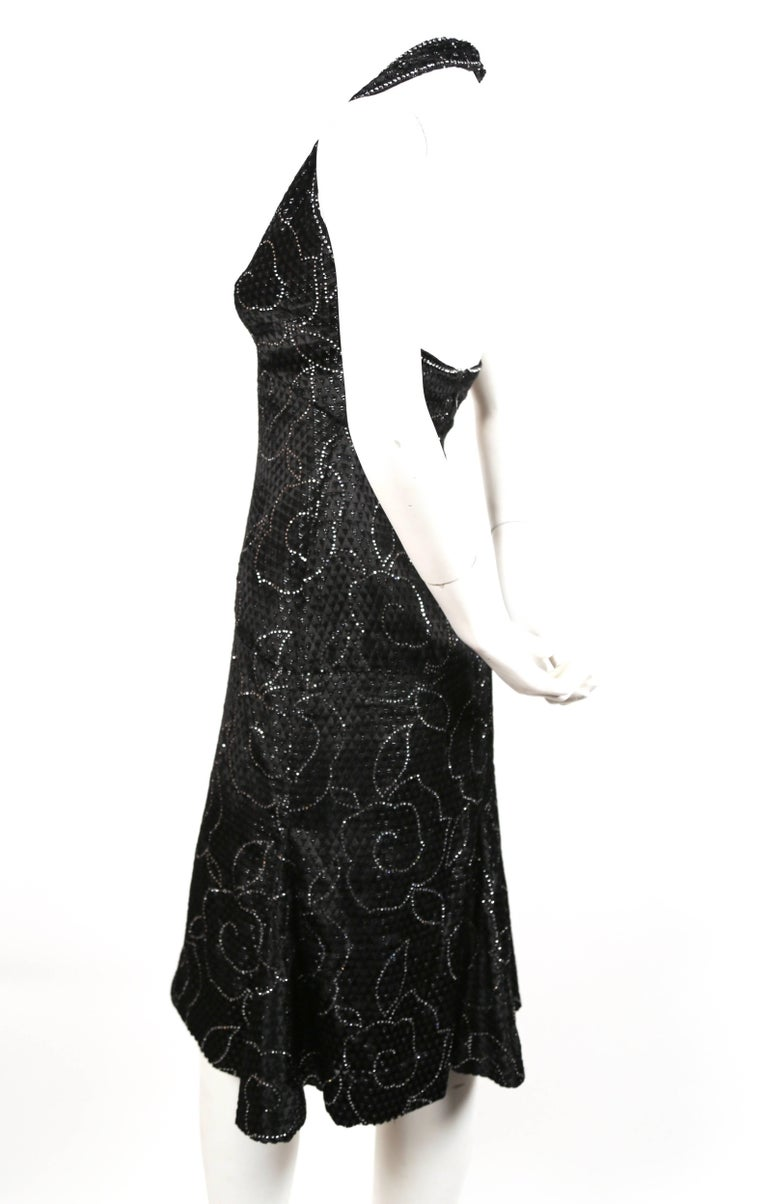265fd3542bf Pierre Balmain black velvet haute couture dress with rhinestones, 1960s In  Excellent Condition For Sale