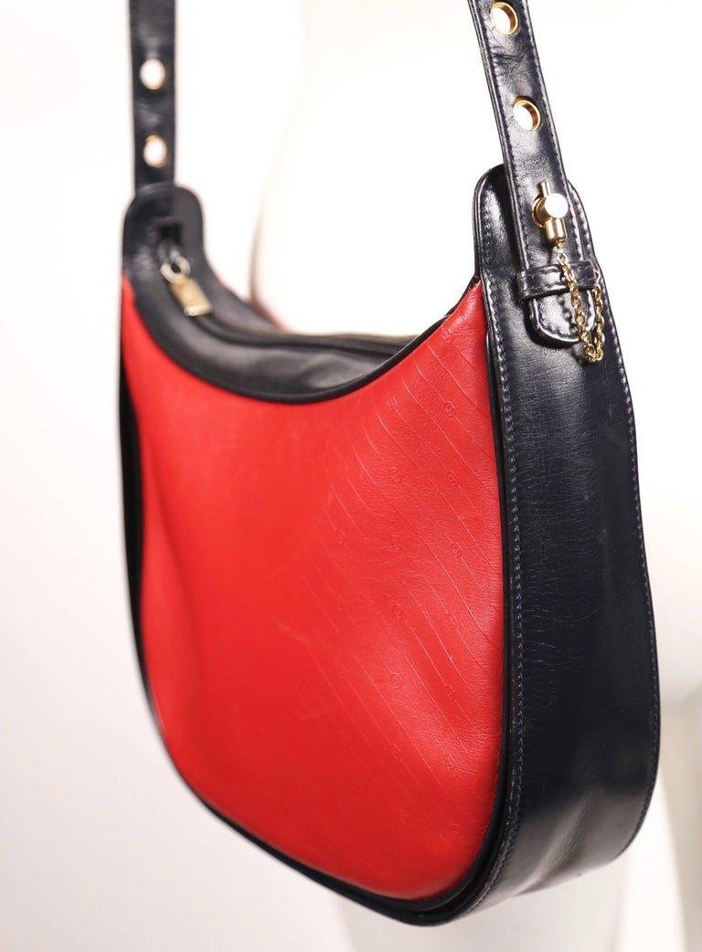 Red 1980's GUCCI navy and red embossed monogrammed leather bag  For Sale