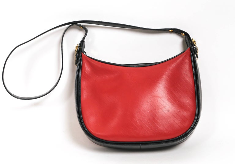 1980's GUCCI navy and red embossed monogrammed leather bag  For Sale 1
