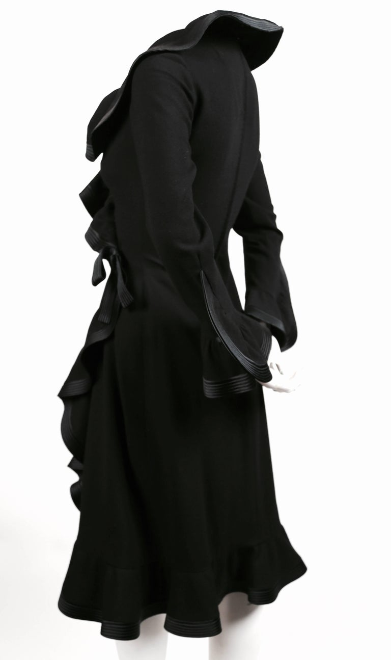 Black 1960's PIERRE BALMAIN haute couture black dress with flounced trim For Sale
