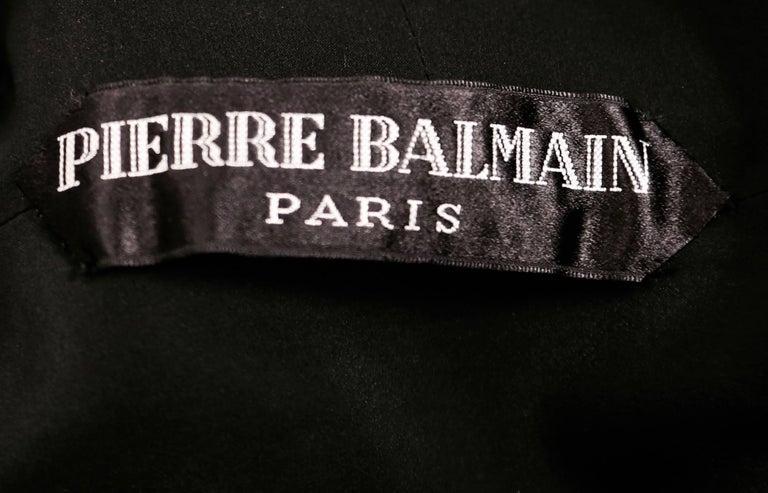 1960's PIERRE BALMAIN haute couture black dress with flounced trim For Sale 1