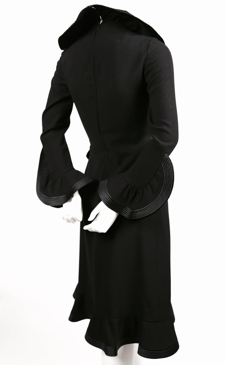 1960's PIERRE BALMAIN haute couture black dress with flounced trim In Excellent Condition For Sale In San Fransisco, CA