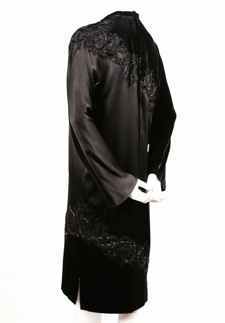 Black 1960's PIERRE BALMAIN elaborately beaded silk and satin haute couture dress For Sale