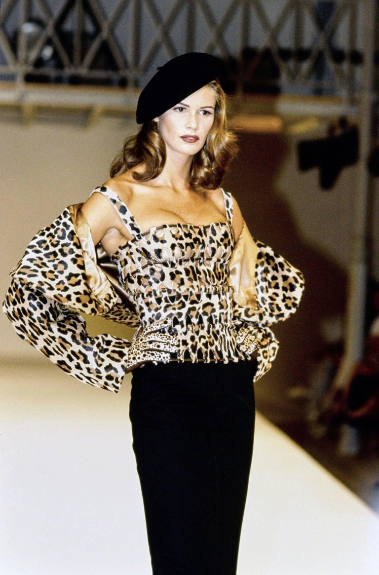 1991 AZZEDINE ALAIA leopard calf fur runway jacket  For Sale 4