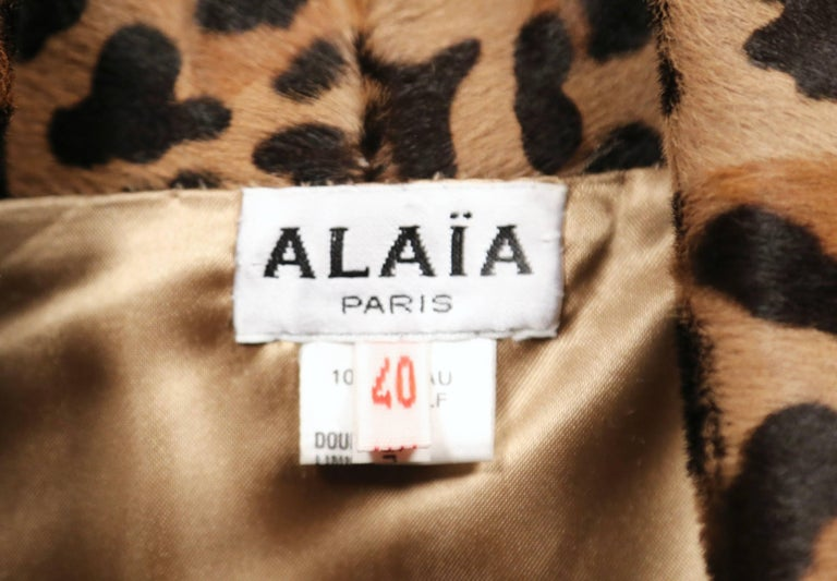 1991 AZZEDINE ALAIA leopard calf fur runway jacket  For Sale 2