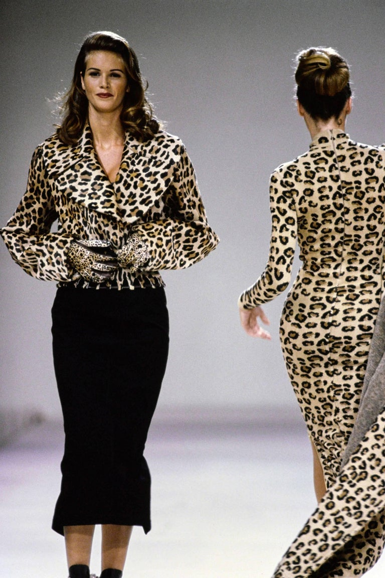 1991 AZZEDINE ALAIA leopard calf fur runway jacket  For Sale 3