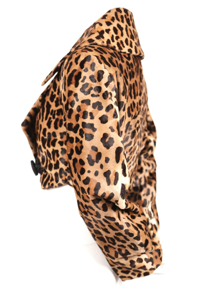 Brown 1991 AZZEDINE ALAIA leopard calf fur runway jacket  For Sale