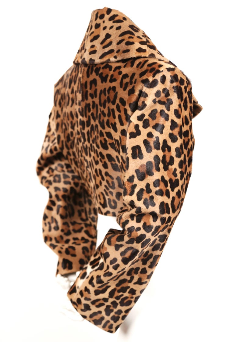 1991 AZZEDINE ALAIA leopard calf fur runway jacket  In Excellent Condition For Sale In San Fransisco, CA