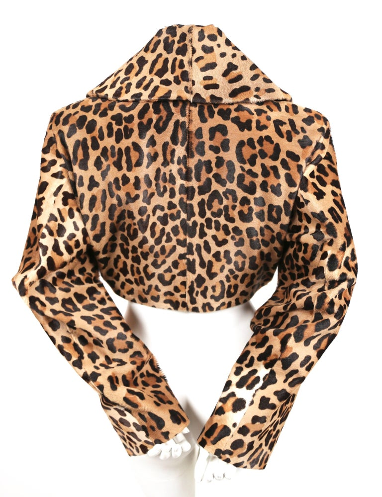 1991 AZZEDINE ALAIA leopard calf fur runway jacket  For Sale 1