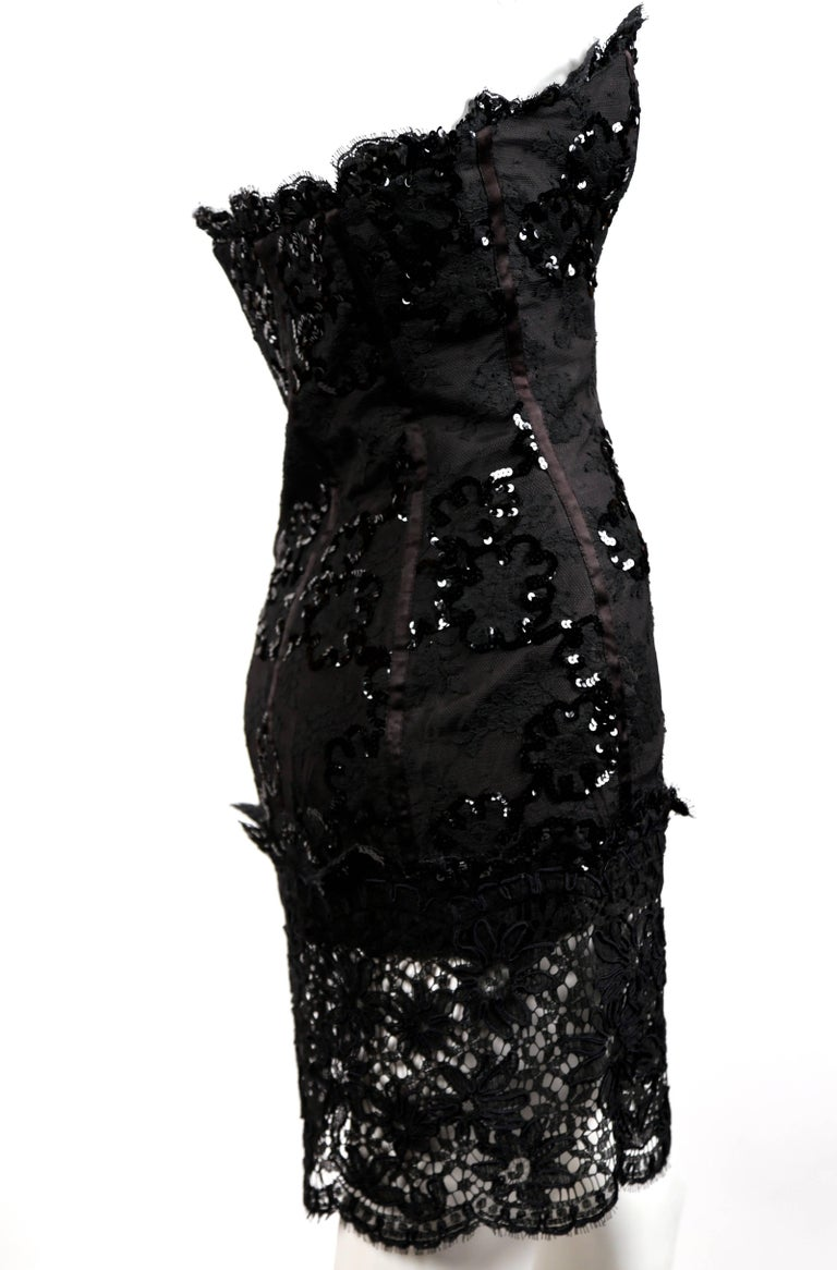 Black 1992 Yves Saint Laurent lace mini dress with sequins and sheer  For Sale