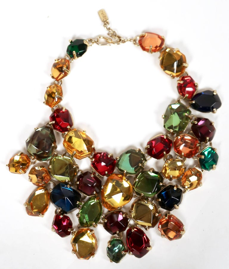 YVES SAINT LAURENT poured glass bib necklace   In Good Condition For Sale In San Francisco, CA
