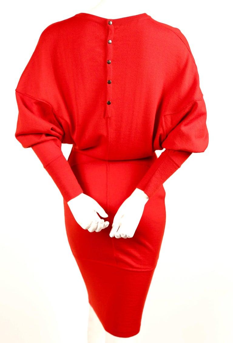Women's Azzedine Alaia red knit dress, 1980s