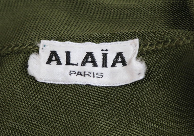 Azzedine Alaia olive viscose hooded dress, 1986  For Sale 1