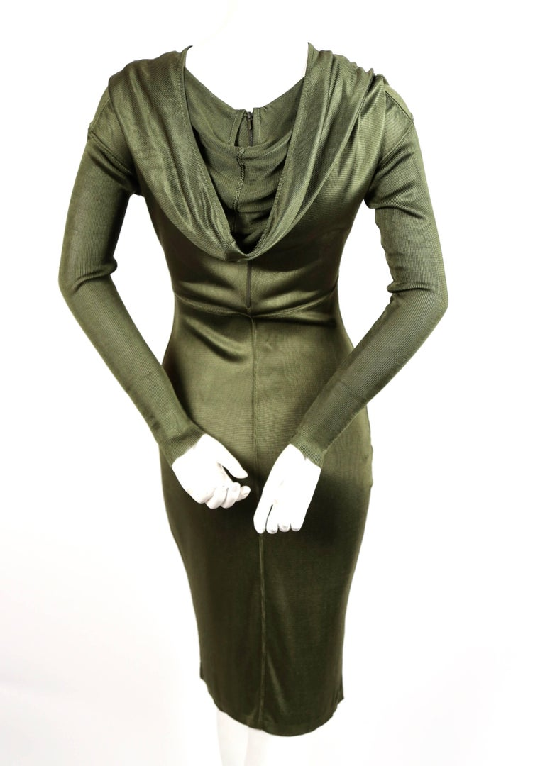 Women's Azzedine Alaia olive viscose hooded dress, 1986  For Sale
