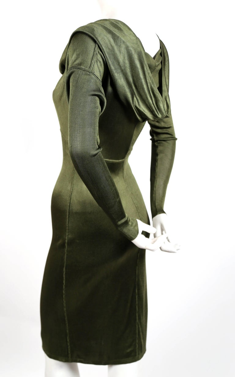 Black Azzedine Alaia olive viscose hooded dress, 1986  For Sale