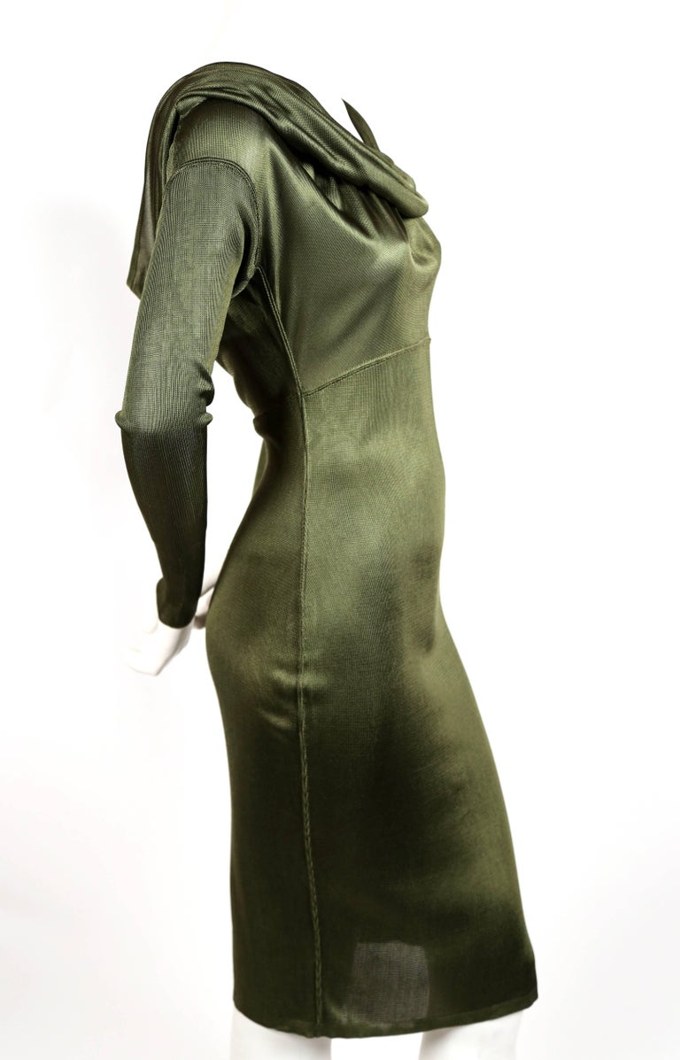 Azzedine Alaia olive viscose hooded dress, 1986  4