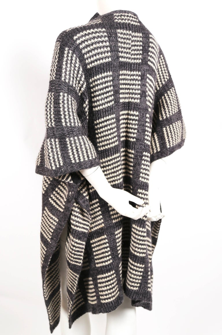 Black 1970's ISSEY MIYAKE knit poncho cape coat For Sale