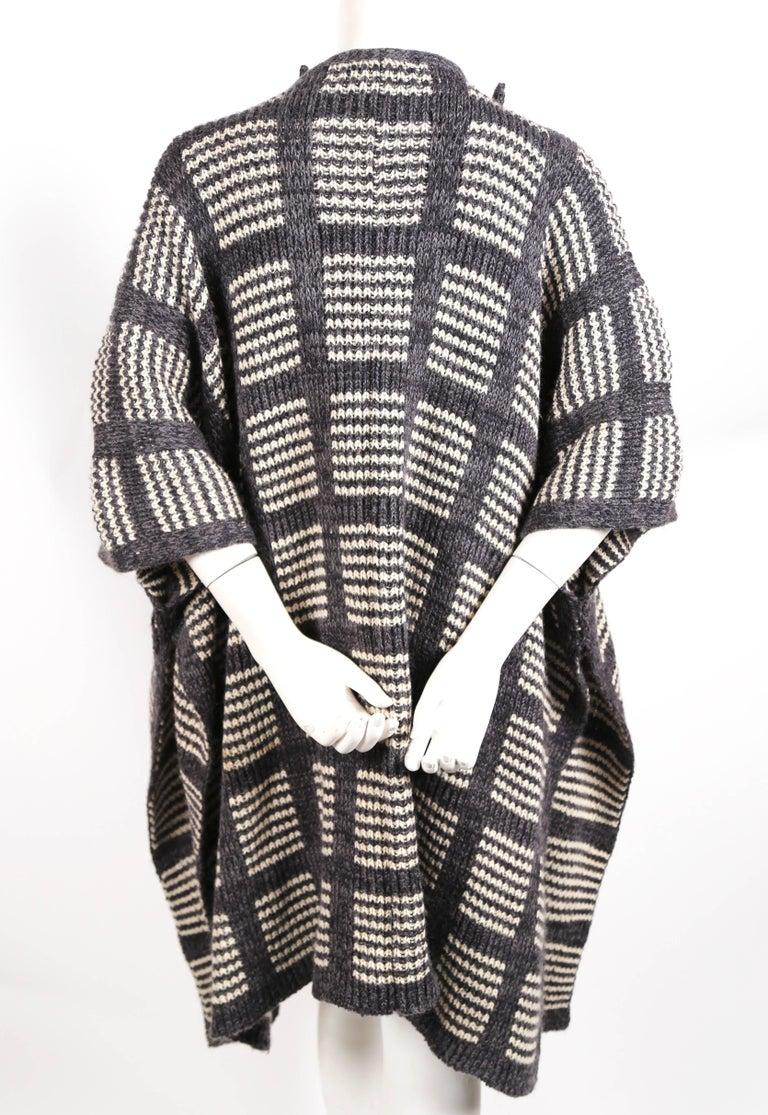 1970's ISSEY MIYAKE knit poncho cape coat In Excellent Condition For Sale In San Francisco, CA