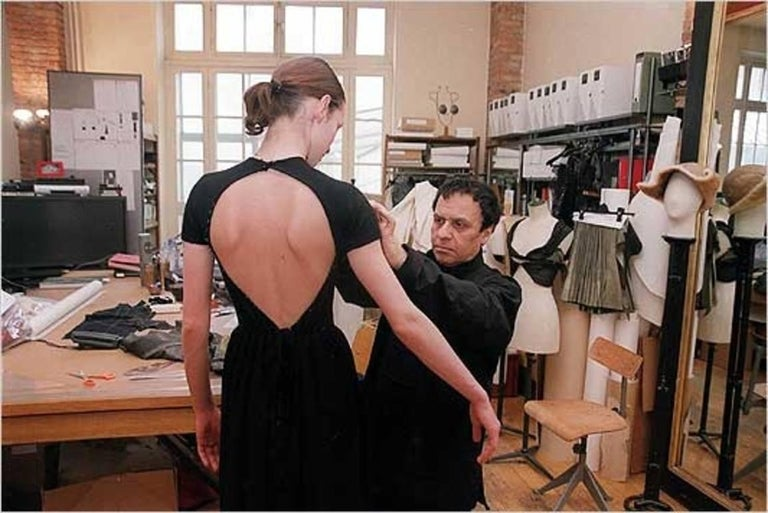 new 1990's AZZEDINE ALAIA forest green wool knit dress with open back For Sale 3