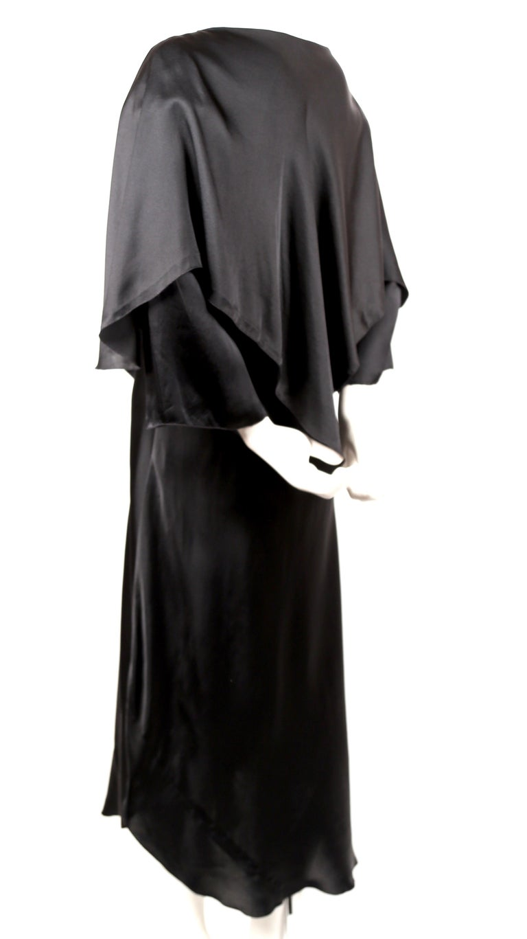 1970's SONIA RYKIEL black bias-cut layered silk dress In Good Condition For Sale In San Fransisco, CA