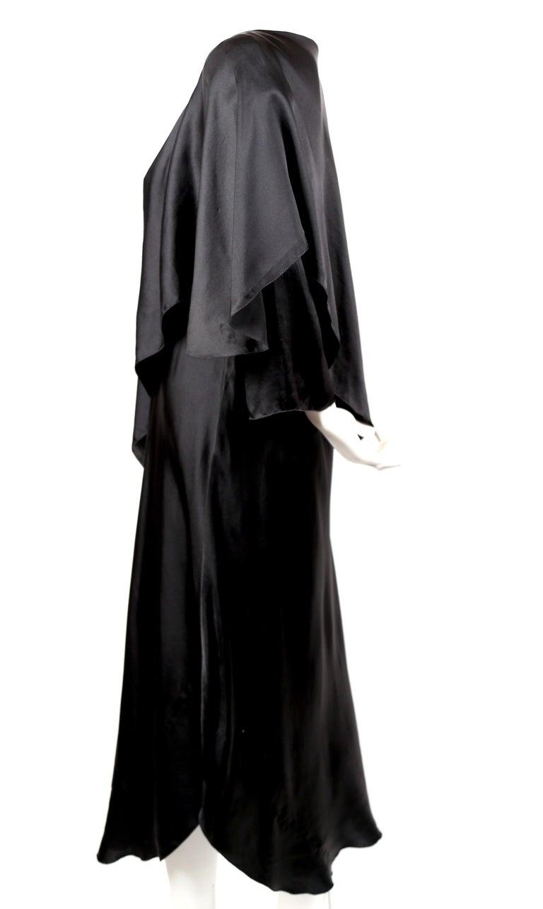 Black 1970's SONIA RYKIEL black bias-cut layered silk dress For Sale