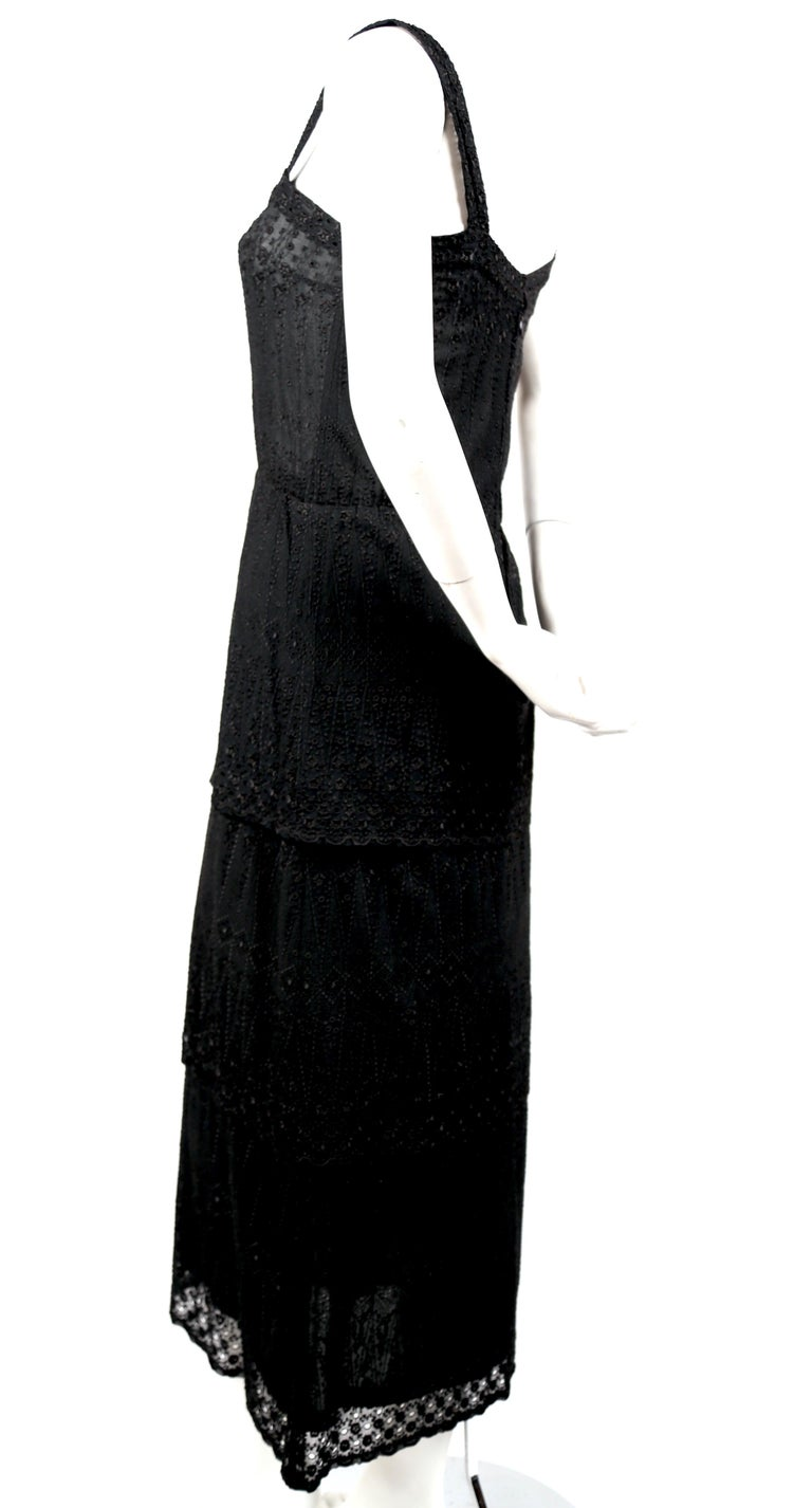 Black 1970's TED LAPIDUS couture eyelet dress with tiered hem For Sale